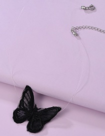 Fashion Black Net Yarn Butterfly Fish Line Thin Edge Necklace