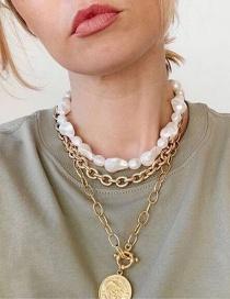 Fashion Golden Pearl Round Brand Portrait Pendant Alloy Multilayer Necklace