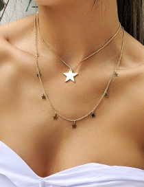 Fashion Golden Five-pointed Star Alloy Multi-layer Necklace