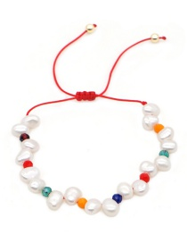 Fashion Red Hand-woven Rice Beads Natural Freshwater Pearl Bracelet