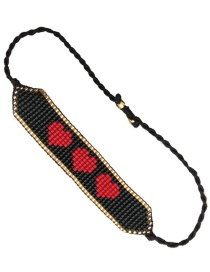 Fashion Love Black Natural Pearl Shell Handmade Rice Beads Woven Love Letter Bracelet
