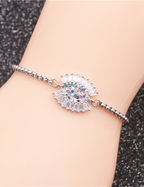 Fashion Silver Eyes Stainless Steel Chain With Diamond Eye Adjustable Bracelet
