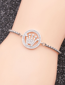 Fashion Crown 5 Stainless Steel Chain Crown With Diamond Hollow Adjustable Bracelet