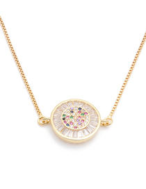 Fashion Round Handle 1 Long Bend Necklace With Micro Zircon Round Handle