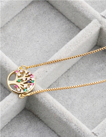 Fashion Tree Of Life A Gold Micro-set Zircon Life Tree Hanging Necklace