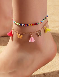 Fashion Color Mixing Rice Beads Tassel Butterfly Alloy Multi-layer Anklet