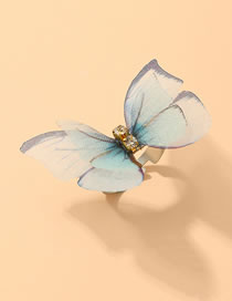Fashion Blue Double Diamond-set Tulle Butterfly Open Ring