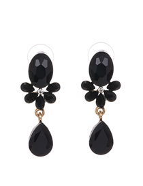 Fashion Black Alloy Diamond Stud Earrings