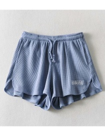 Fashion Blue Gray Letter Embroidered Belted Loose Shorts