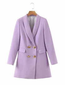 Fashion Purple Double-breasted Loose Blazer