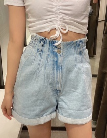 Fashion Blue Washed Paper Bag High Waist Denim Shorts