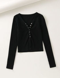 Fashion Black V-neck Single-row Snap Buckle Irregular Rib Slim Fit Knitted T-shirt
