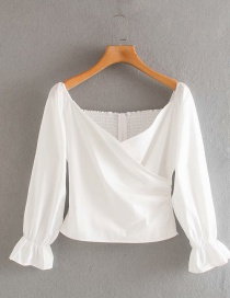 Fashion White Cross-neck Strapless Long-sleeved Slim Shirt
