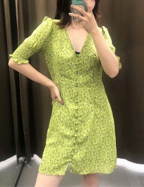 Fashion Green Single-breasted Elasticated Short-sleeved Dress