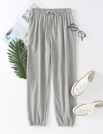 Fashion Gray Drawstring Drawstring Sports Trousers