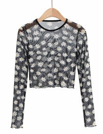Fashion Chrysanthemum Daisy Sunscreen Perspective Shirt Top