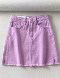 Fashion Purple Raw A-line Denim Skirt