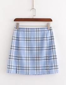 Fashion Blue Checked Printed Skirt