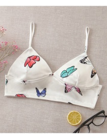 Fashion White Butterfly Print Strapless Tube Top