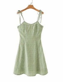 Fashion Green Plaid Lace Halter Dress