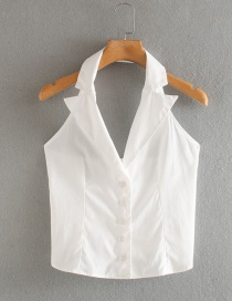 Fashion White Lapel Halter Halter Shirtless Vest Top