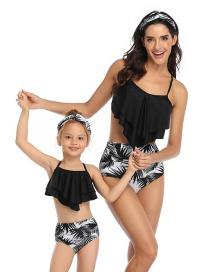 Fashion Black On Black Printed Stitching Mesh High Waist Parent-child Split Swimsuit