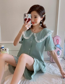 Fashion Bean Green Pure Cotton Short Sleeve Ruffled Home Service Suit