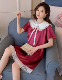 Fashion Red Ice Silk Thin Short-sleeved Lace Doll Collar Nightdress