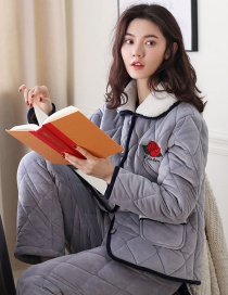 Fashion Gray Flowers Coral Velvet Three-layer Thickened Cotton-printed Home Service Suit