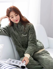 Fashion Alphabet Green Coral Velvet Three-layer Thickened Cotton-printed Home Service Suit