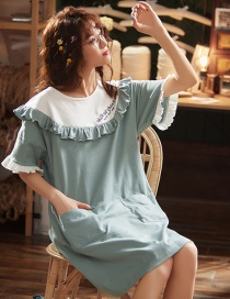 Fashion Blue Pure Cotton Short-sleeved Loose Print Baby Collar Nightdress