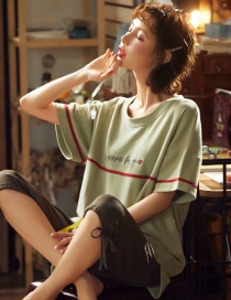 Fashion Fruit Green Love Letter Short-sleeved Cotton Thin Printed Pajama Suit