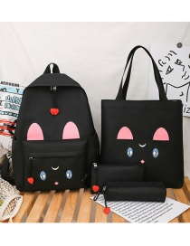 Fashion Black Canvas Emoji Print Shoulder Bag