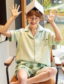 Fashion Light Green Pure Cotton Short-sleeved Thin-print Printed Home Service Pajamas Set
