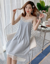 Fashion Grey With Chest Pad Thin Cotton Lace Suspender Nightdress With Chest Pad