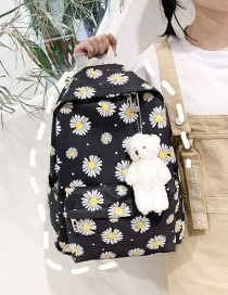 Fashion Black Nylon Daisy Print Backpack