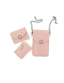 Fashion Light Pink Chain Flip Can Touch Screen Mobile Phone Bag Wallet Card Bag Three-piece Combination