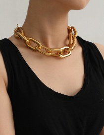 Fashion Golden Handmade Hollow Geometric Thick Chain Oval Necklace