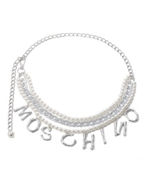Fashion White K Chain-like Pearl Tassel Letter Waist Chain
