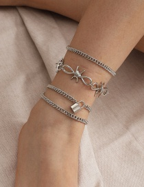 Fashion Bow Lock-shaped Chain Alloy Hollow Multi-layer Anklet