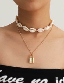 Fashion Golden Handmade Shell Lock Double-layer Alloy Necklace