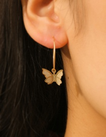 Fashion Golden Butterfly Pendant Alloy Round Earrings