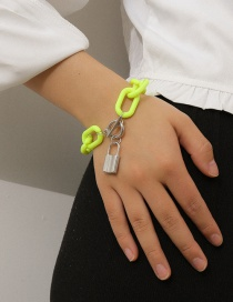 Fashion Fluorescent Green Ot Buckle Thick Chain Lock Alloy Resin Bracelet