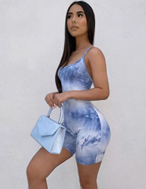 Fashion Blue Printed Jumpsuit With Suspenders