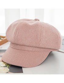 Fashion Pink Plus Cashmere Plaid Knitted Cashmere Octagonal Hat