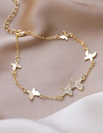 Fashion Golden Diamond-plated Butterfly Chain True Gold Plated Bracelet
