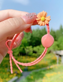 Fashion Watermelon Red Daisy Resin Geometric Knotted Hair Rope