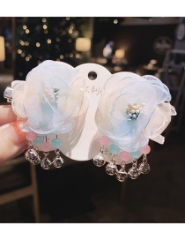 Fashion Blue And Yellow 1 Pair Mesh Flower Butterfly Butterfly Alloy Fringe Hairpin Set