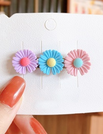 Fashion Trumpet-pink Purple Blue Small Daisy Resin Contrast Alloy Hair Clip
