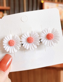 Fashion Rose Red Small Daisy Resin Contrast Alloy Hair Clip